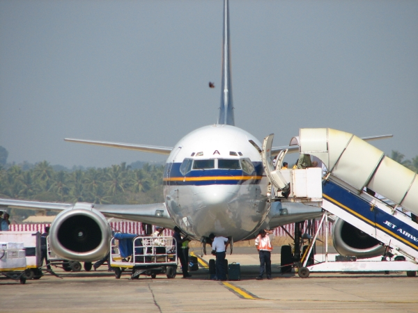 Jet Airway aircraft parked at Trevandrum airport